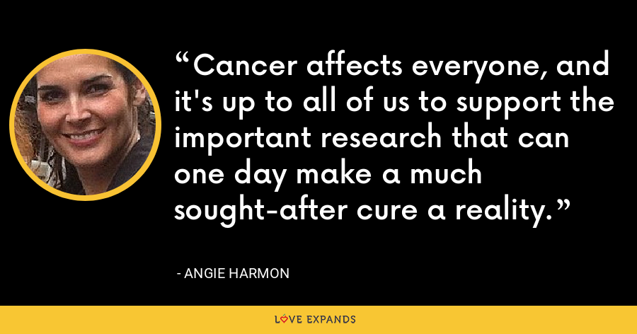 Cancer affects everyone, and it's up to all of us to support the important research that can one day make a much sought-after cure a reality. - Angie Harmon