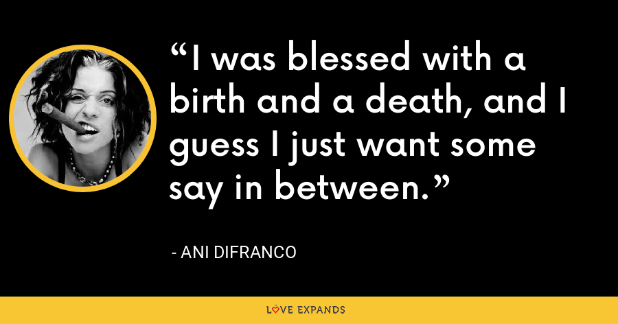I was blessed with a birth and a death, and I guess I just want some say in between. - Ani DiFranco