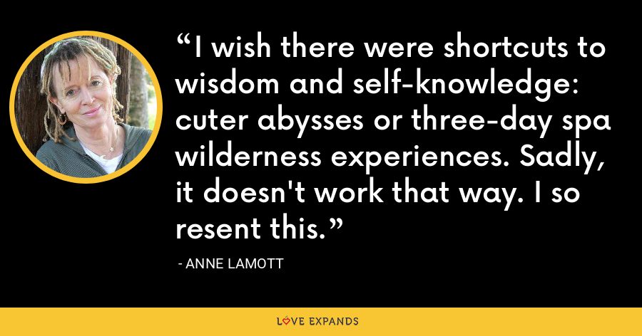 I wish there were shortcuts to wisdom and self-knowledge: cuter abysses or three-day spa wilderness experiences. Sadly, it doesn't work that way. I so resent this. - Anne Lamott