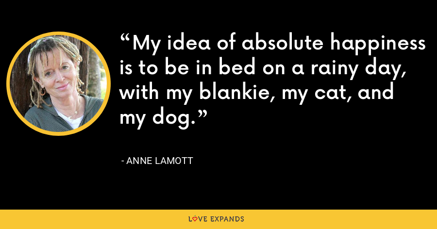 My idea of absolute happiness is to be in bed on a rainy day, with my blankie, my cat, and my dog. - Anne Lamott