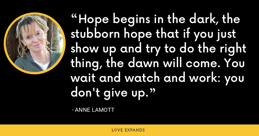 Hope begins in the dark, the stubborn hope that if you just show up and try to do the right thing, the dawn will come. You wait and watch and work: you don't give up. - Anne Lamott