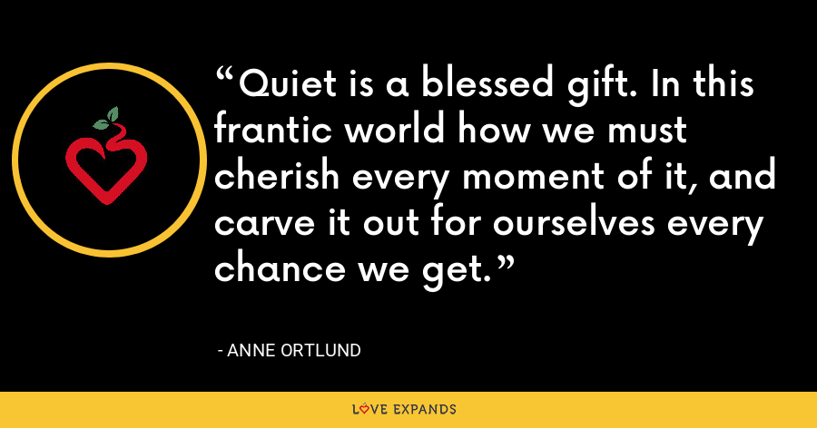 Quiet is a blessed gift. In this frantic world how we must cherish every moment of it, and carve it out for ourselves every chance we get. - Anne Ortlund