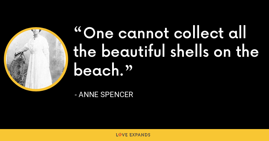 One cannot collect all the beautiful shells on the beach. - Anne Spencer