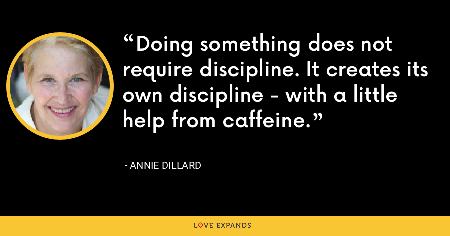 Doing something does not require discipline. It creates its own discipline - with a little help from caffeine. - Annie Dillard