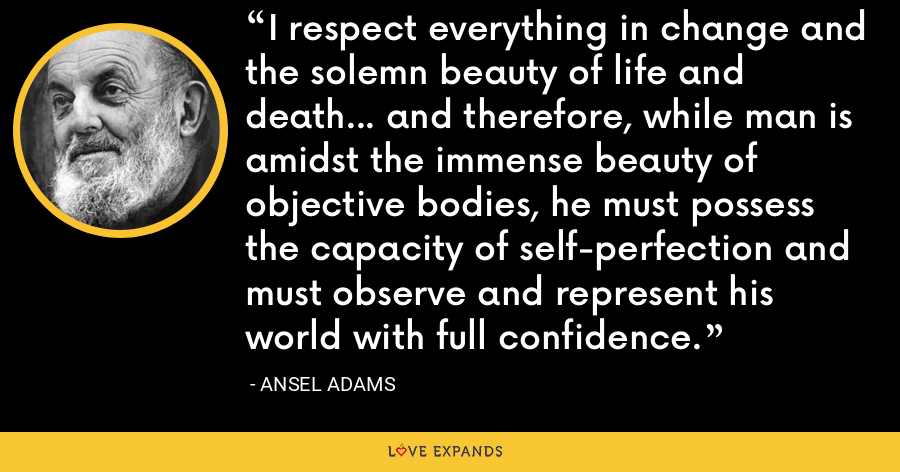 I respect everything in change and the solemn beauty of life and death... and therefore, while man is amidst the immense beauty of objective bodies, he must possess the capacity of self-perfection and must observe and represent his world with full confidence. - Ansel Adams