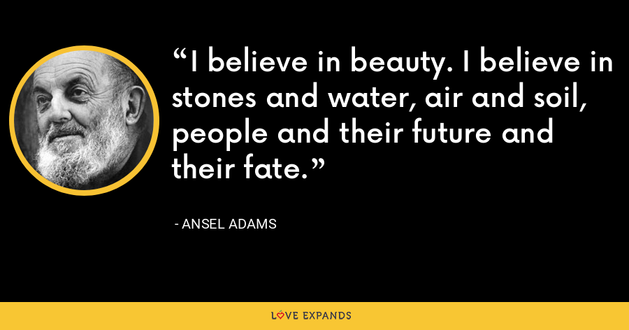 I believe in beauty. I believe in stones and water, air and soil, people and their future and their fate. - Ansel Adams