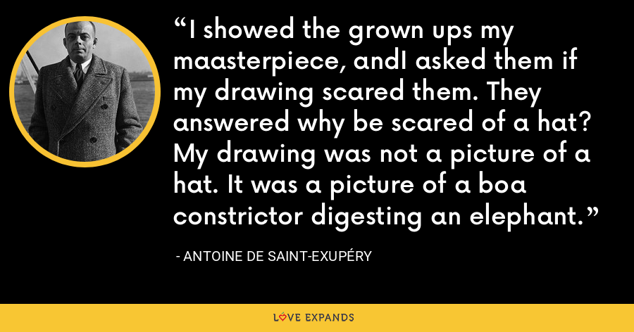 I showed the grown ups my maasterpiece, andI asked them if my drawing scared them. They answered why be scared of a hat? My drawing was not a picture of a hat. It was a picture of a boa constrictor digesting an elephant. - Antoine de Saint-Exupéry
