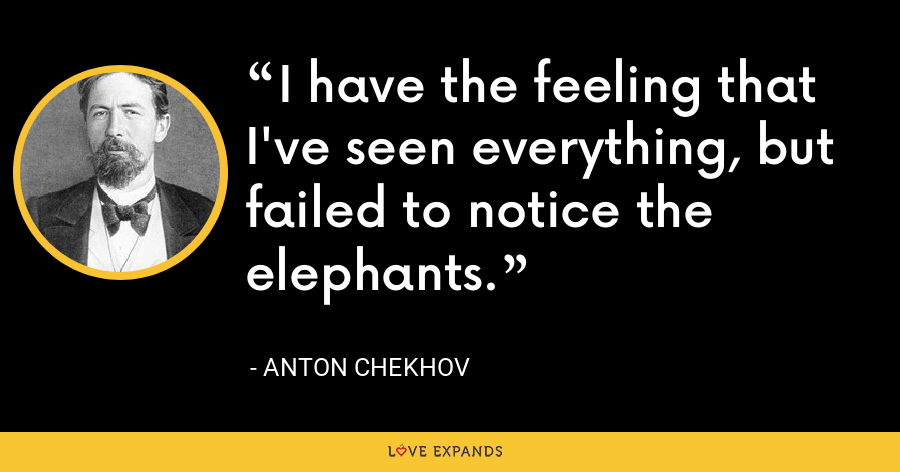 I have the feeling that I've seen everything, but failed to notice the elephants. - Anton Chekhov