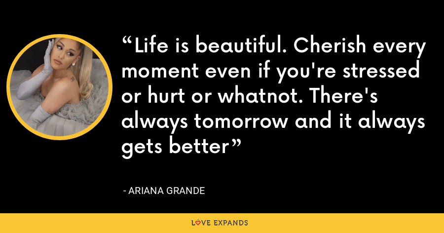 Life is beautiful. Cherish every moment even if you're stressed or hurt or whatnot. There's always tomorrow and it always gets better - Ariana Grande