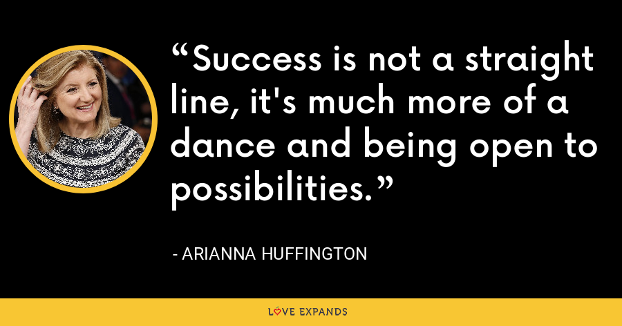 Success is not a straight line, it's much more of a dance and being open to possibilities. - Arianna Huffington
