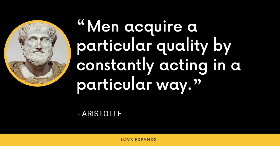 Men acquire a particular quality by constantly acting in a particular way. - Aristotle