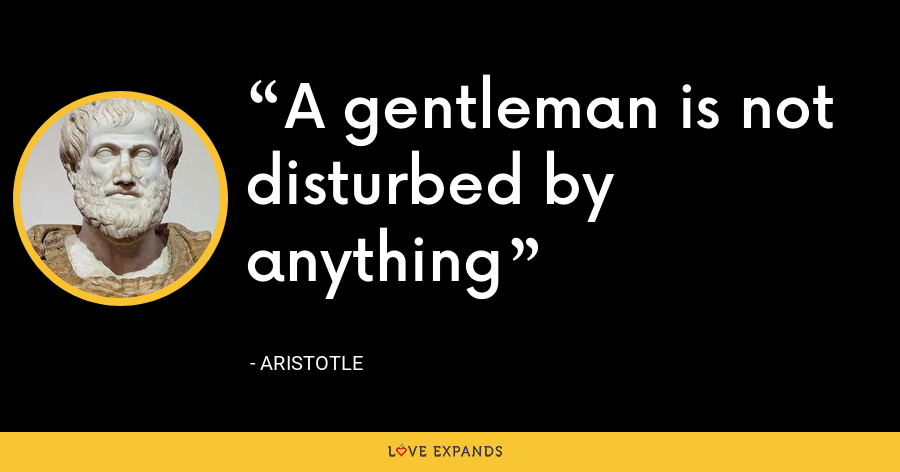 A gentleman is not disturbed by anything - Aristotle