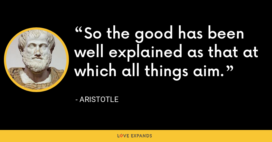 So the good has been well explained as that at which all things aim. - Aristotle