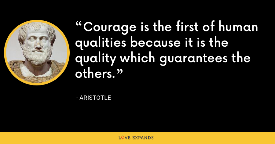 Courage is the first of human qualities because it is the quality which guarantees the others. - Aristotle