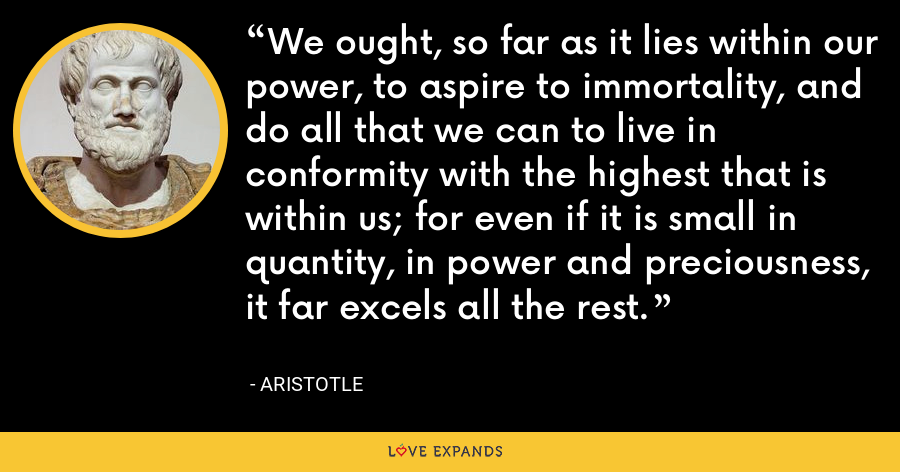 We ought, so far as it lies within our power, to aspire to immortality, and do all that we can to live in conformity with the highest that is within us; for even if it is small in quantity, in power and preciousness, it far excels all the rest. - Aristotle