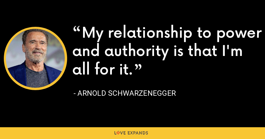 My relationship to power and authority is that I'm all for it. - Arnold Schwarzenegger