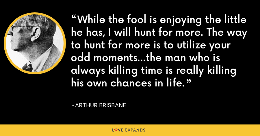 While the fool is enjoying the little he has, I will hunt for more. The way to hunt for more is to utilize your odd moments...the man who is always killing time is really killing his own chances in life. - Arthur Brisbane