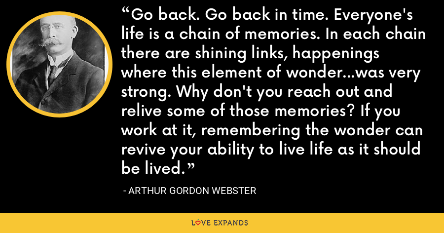 Go back. Go back in time. Everyone's life is a chain of memories. In each chain there are shining links, happenings where this element of wonder...was very strong. Why don't you reach out and relive some of those memories? If you work at it, remembering the wonder can revive your ability to live life as it should be lived. - Arthur Gordon Webster