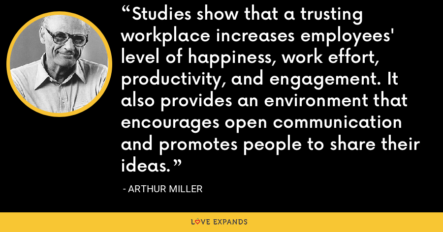 Studies show that a trusting workplace increases employees' level of happiness, work effort, productivity, and engagement. It also provides an environment that encourages open communication and promotes people to share their ideas. - Arthur Miller