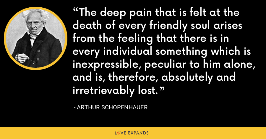 The deep pain that is felt at the death of every friendly soul arises from the feeling that there is in every individual something which is inexpressible, peculiar to him alone, and is, therefore, absolutely and irretrievably lost. - Arthur Schopenhauer