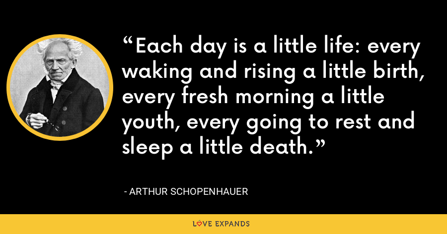 Each day is a little life: every waking and rising a little birth, every fresh morning a little youth, every going to rest and sleep a little death. - Arthur Schopenhauer