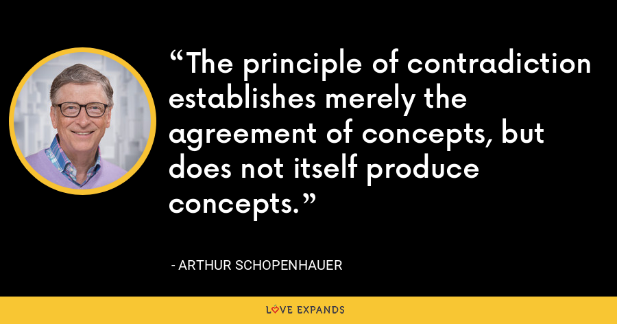 The principle of contradiction establishes merely the agreement of concepts, but does not itself produce concepts. - Arthur Schopenhauer
