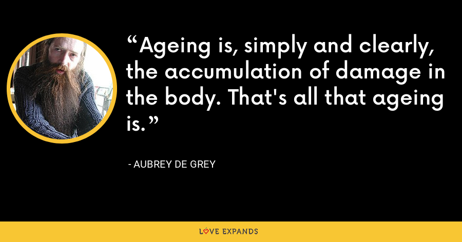 Ageing is, simply and clearly, the accumulation of damage in the body. That's all that ageing is. - Aubrey de Grey