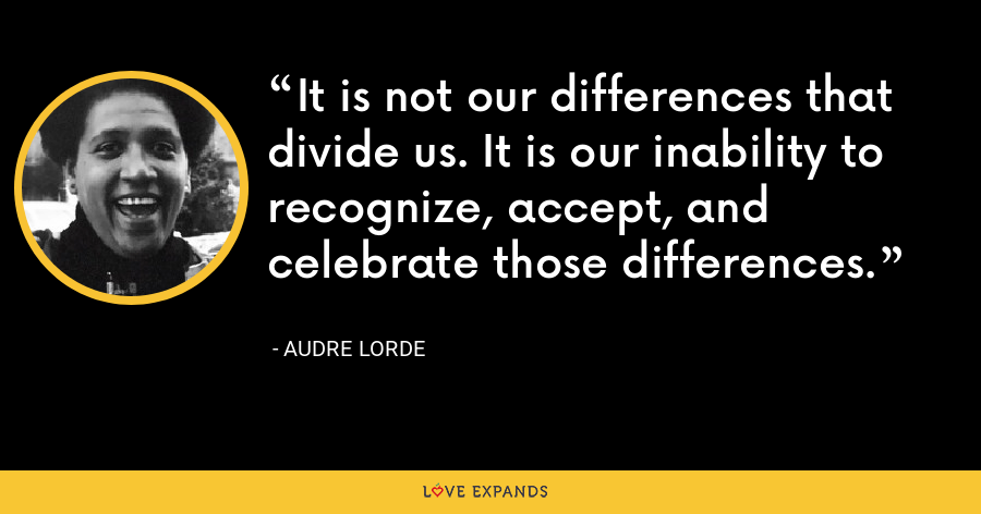 It is not our differences that divide us. It is our inability to recognize, accept, and celebrate those differences. - Audre Lorde