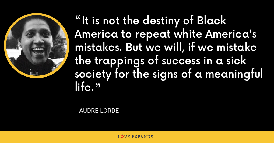 It is not the destiny of Black America to repeat white America's mistakes. But we will, if we mistake the trappings of success in a sick society for the signs of a meaningful life. - Audre Lorde