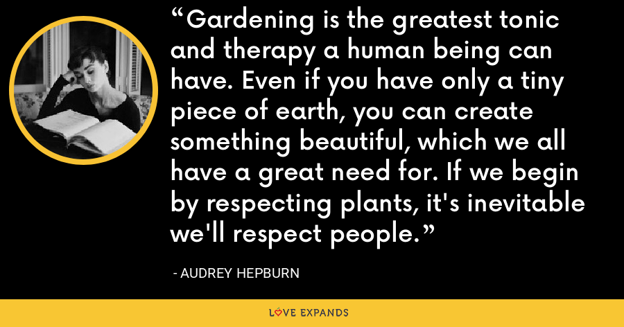Gardening is the greatest tonic and therapy a human being can have. Even if you have only a tiny piece of earth, you can create something beautiful, which we all have a great need for. If we begin by respecting plants, it's inevitable we'll respect people. - Audrey Hepburn