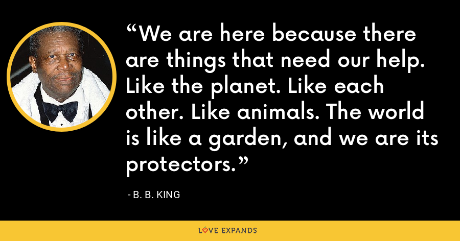 We are here because there are things that need our help. Like the planet. Like each other. Like animals. The world is like a garden, and we are its protectors. - B. B. King