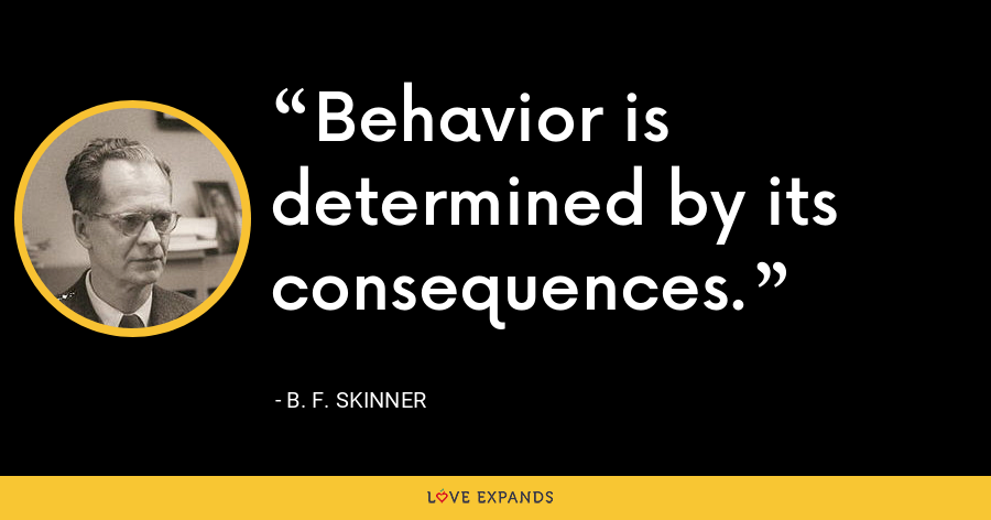 Behavior is determined by its consequences. - B. F. Skinner