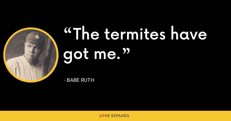 The termites have got me. - Babe Ruth