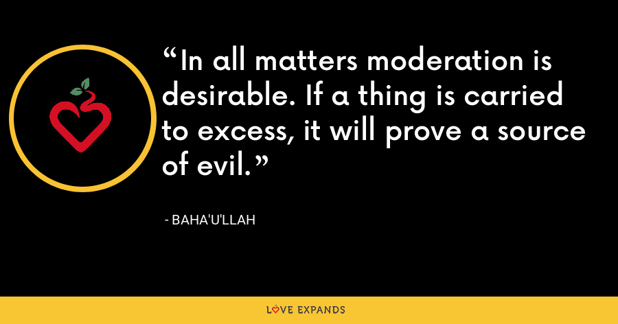 In all matters moderation is desirable. If a thing is carried to excess, it will prove a source of evil. - Baha'u'llah