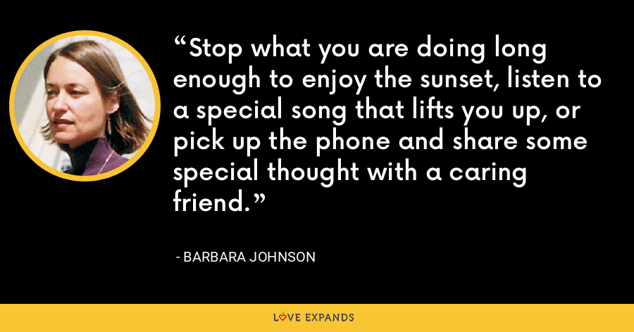 Stop what you are doing long enough to enjoy the sunset, listen to a special song that lifts you up, or pick up the phone and share some special thought with a caring friend. - Barbara Johnson