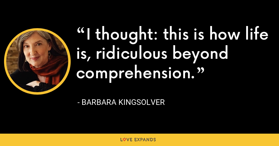 I thought: this is how life is, ridiculous beyond comprehension. - Barbara Kingsolver