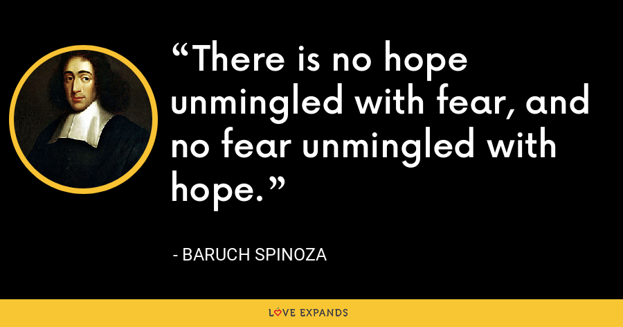 There is no hope unmingled with fear, and no fear unmingled with hope. - Baruch Spinoza