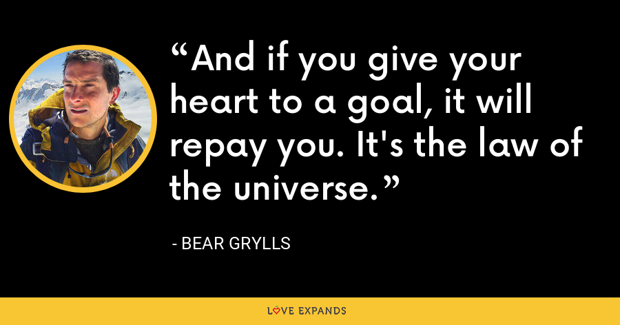 And if you give your heart to a goal, it will repay you. It's the law of the universe. - Bear Grylls