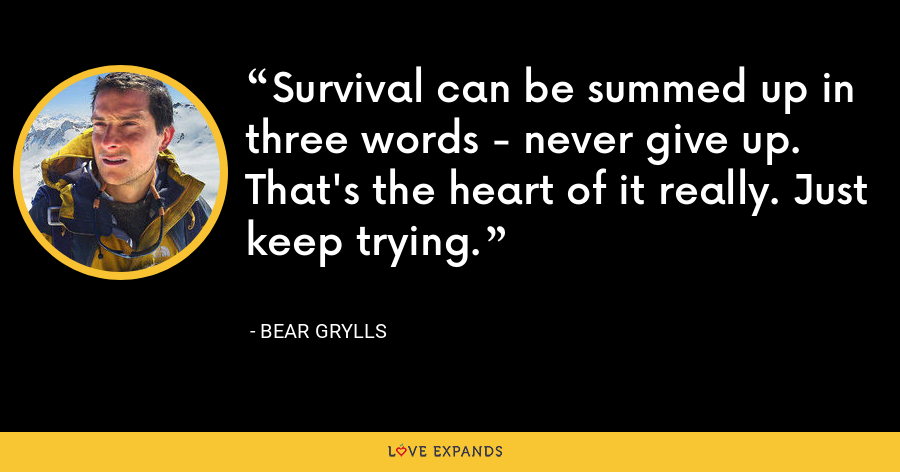 Survival can be summed up in three words - never give up. That's the heart of it really. Just keep trying. - Bear Grylls