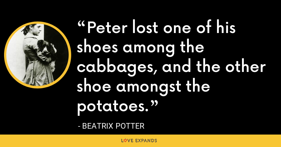 Peter lost one of his shoes among the cabbages, and the other shoe amongst the potatoes. - Beatrix Potter