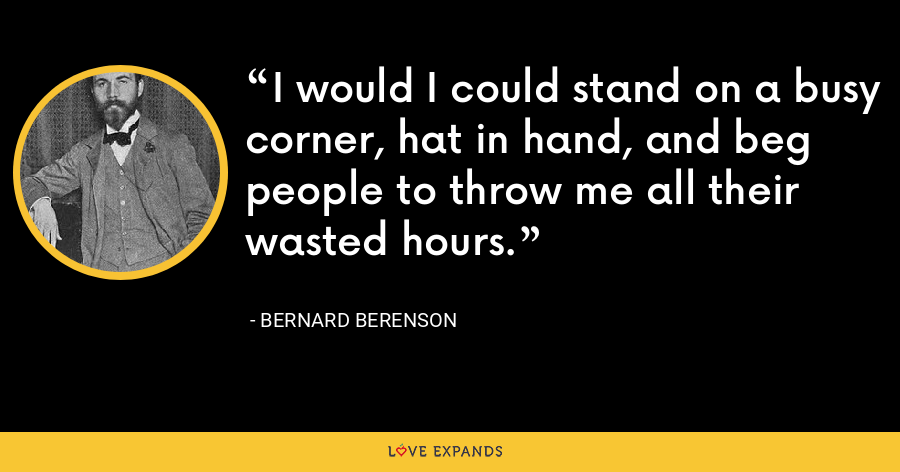 I would I could stand on a busy corner, hat in hand, and beg people to throw me all their wasted hours. - Bernard Berenson