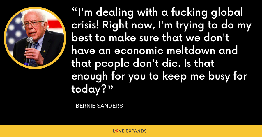 I'm dealing with a fucking global crisis! Right now, I'm trying to do my best to make sure that we don't have an economic meltdown and that people don't die. Is that enough for you to keep me busy for today? - Bernie Sanders