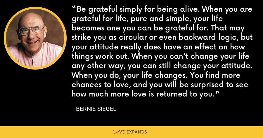 Be grateful simply for being alive. When you are grateful for life, pure and simple, your life becomes one you can be grateful for. That may strike you as circular or even backward logic, but your attitude really does have an effect on how things work out. When you can't change your life any other way, you can still change your attitude. When you do, your life changes. You find more chances to love, and you will be surprised to see how much more love is returned to you. - Bernie Siegel