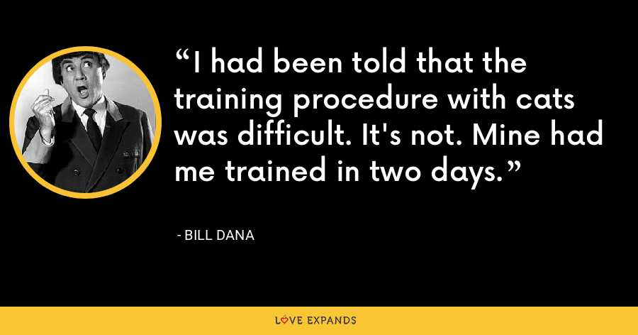 I had been told that the training procedure with cats was difficult. It's not. Mine had me trained in two days. - Bill Dana