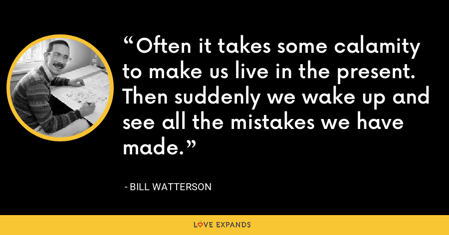 Often it takes some calamity to make us live in the present. Then suddenly we wake up and see all the mistakes we have made. - Bill Watterson