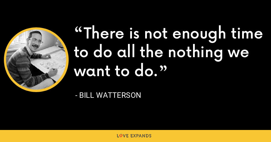 There is not enough time to do all the nothing we want to do. - Bill Watterson