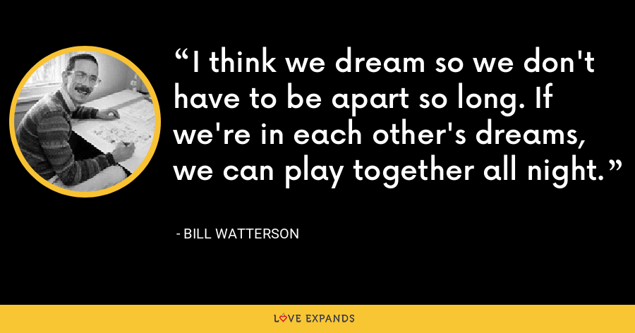 I think we dream so we don't have to be apart so long. If we're in each other's dreams, we can play together all night. - Bill Watterson