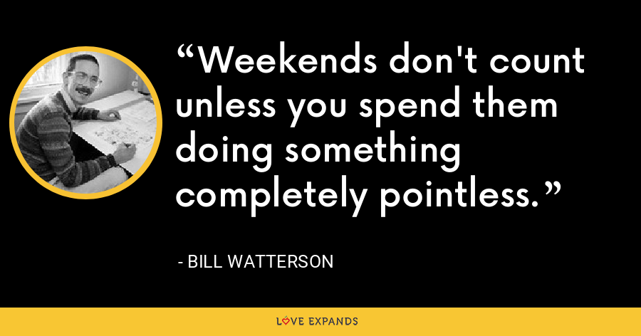 Weekends don't count unless you spend them doing something completely pointless. - Bill Watterson
