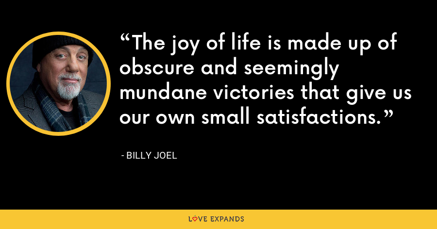 The joy of life is made up of obscure and seemingly mundane victories that give us our own small satisfactions. - Billy Joel