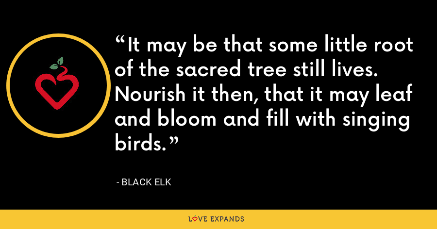 It may be that some little root of the sacred tree still lives. Nourish it then, that it may leaf and bloom and fill with singing birds. - Black Elk